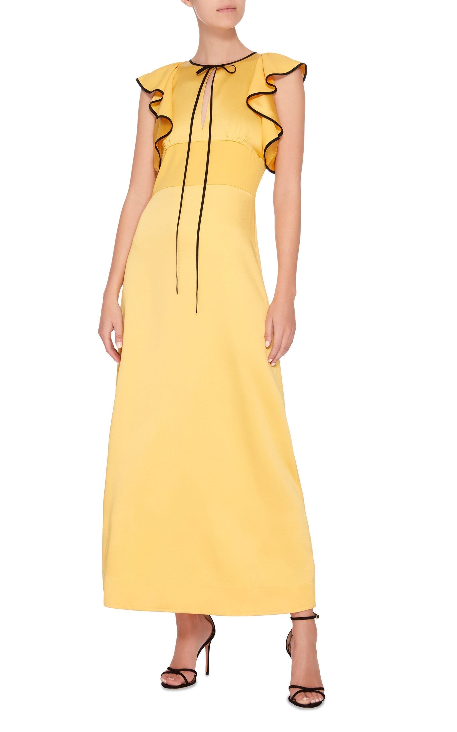 ALEXACHUNG Tie-Front Ruffled Satin Maxi Yellow Dress