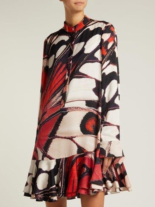 a3c0d1eeb30740 ALEXANDER MCQUEEN Butterfly Print Silk Satin Mini Red Dress - We ...