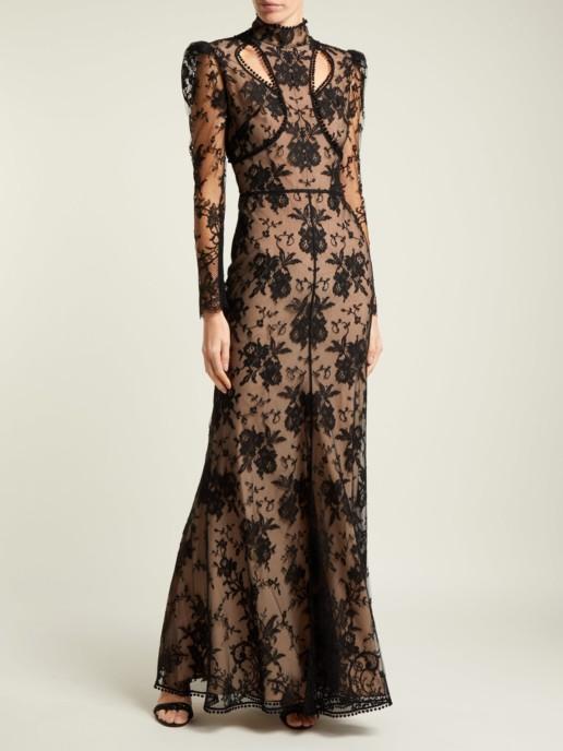 ALEXANDER MCQUEEN Cut Out Floral Lace Black Gown