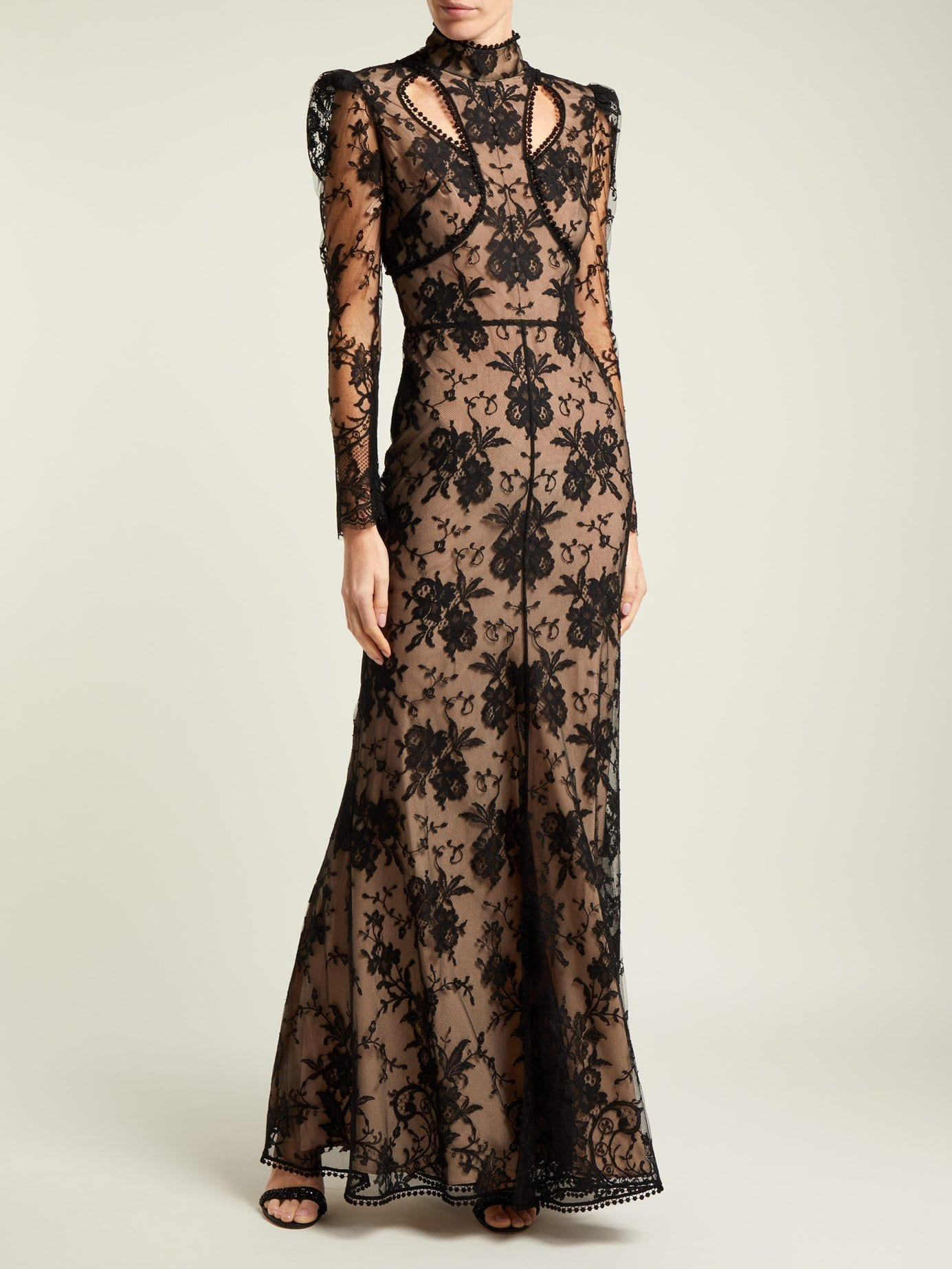 ALEXANDER MCQUEEN Cut Out Floral Lace Black Gown - We Select Dresses