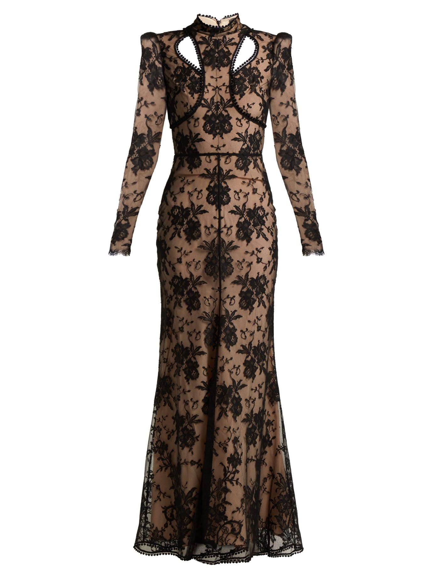 ALEXANDER MCQUEEN Cut Out Floral Lace Black Gown - We Select Dresses