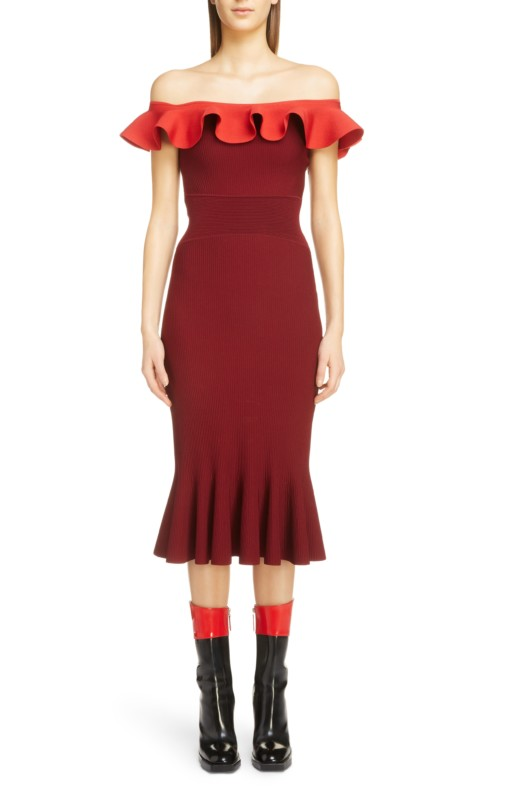ALEXANDER MCQUEEN Ruffle Off the Shoulder Sweater Carmine / Red Dress