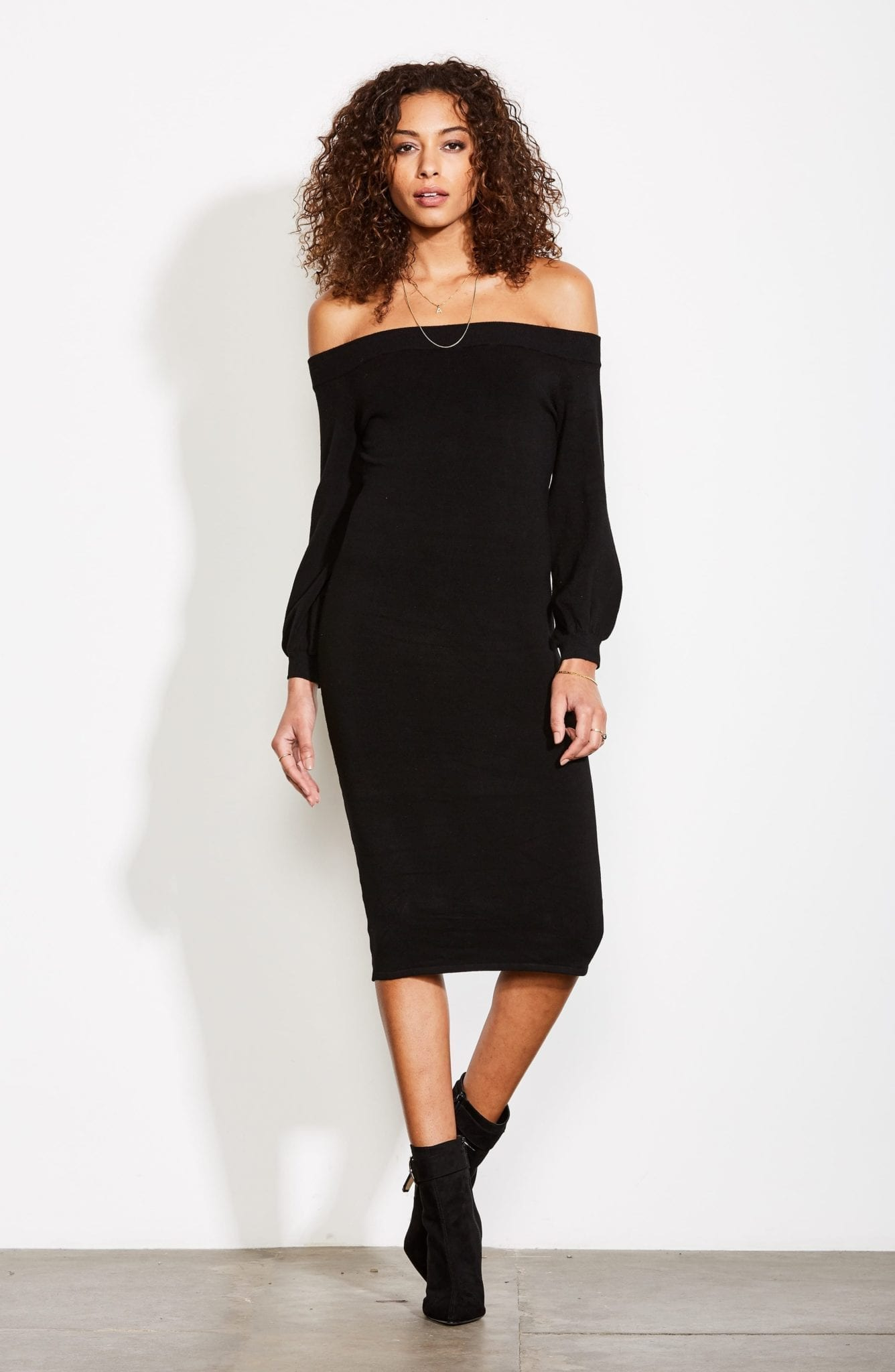 Ali Jay Standing Strong Off The Shoulder Midi Sweater Black Dress