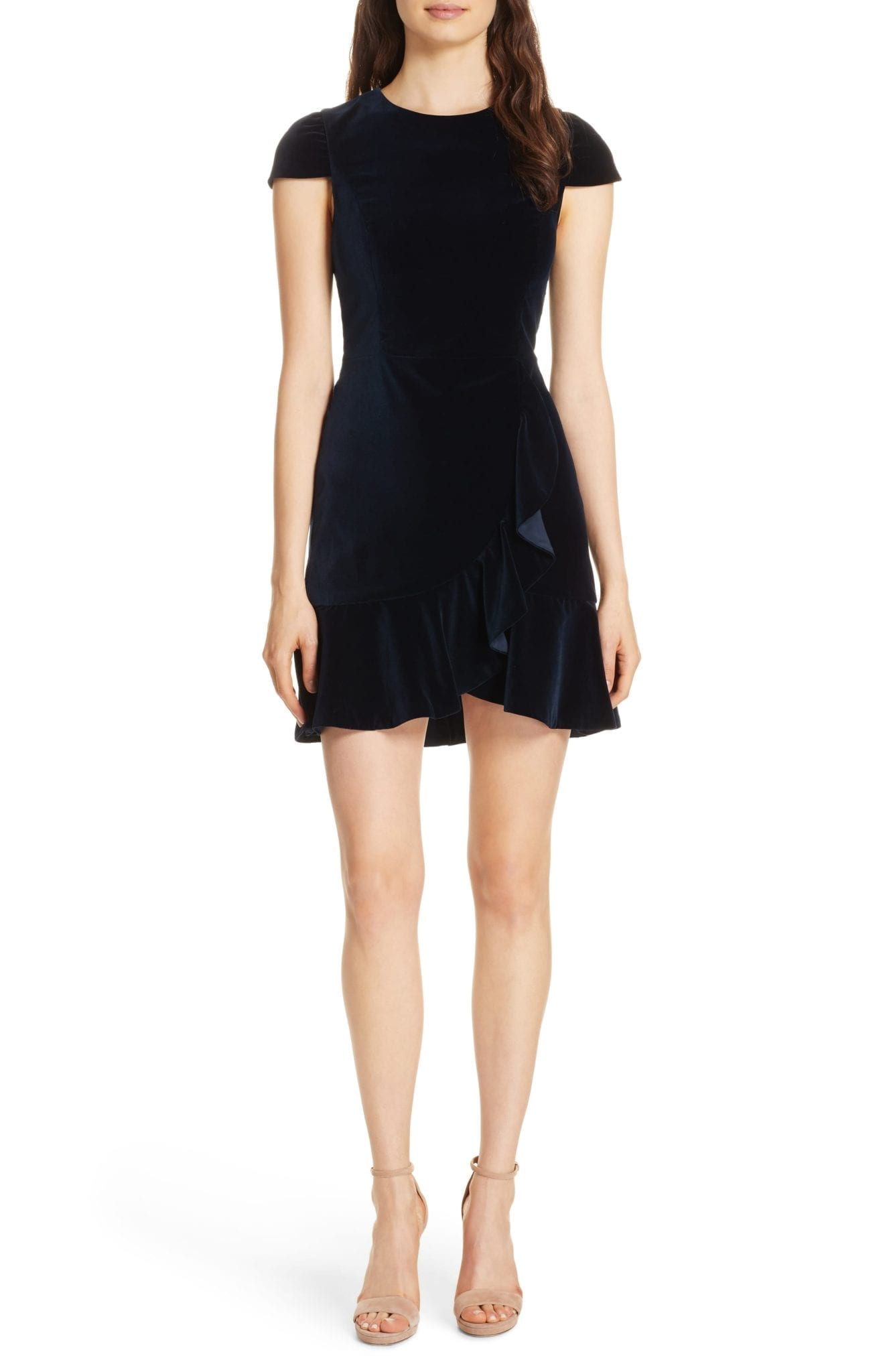 ALICE + OLIVIA Enid Ruffled Velvet Mini Navy Dress