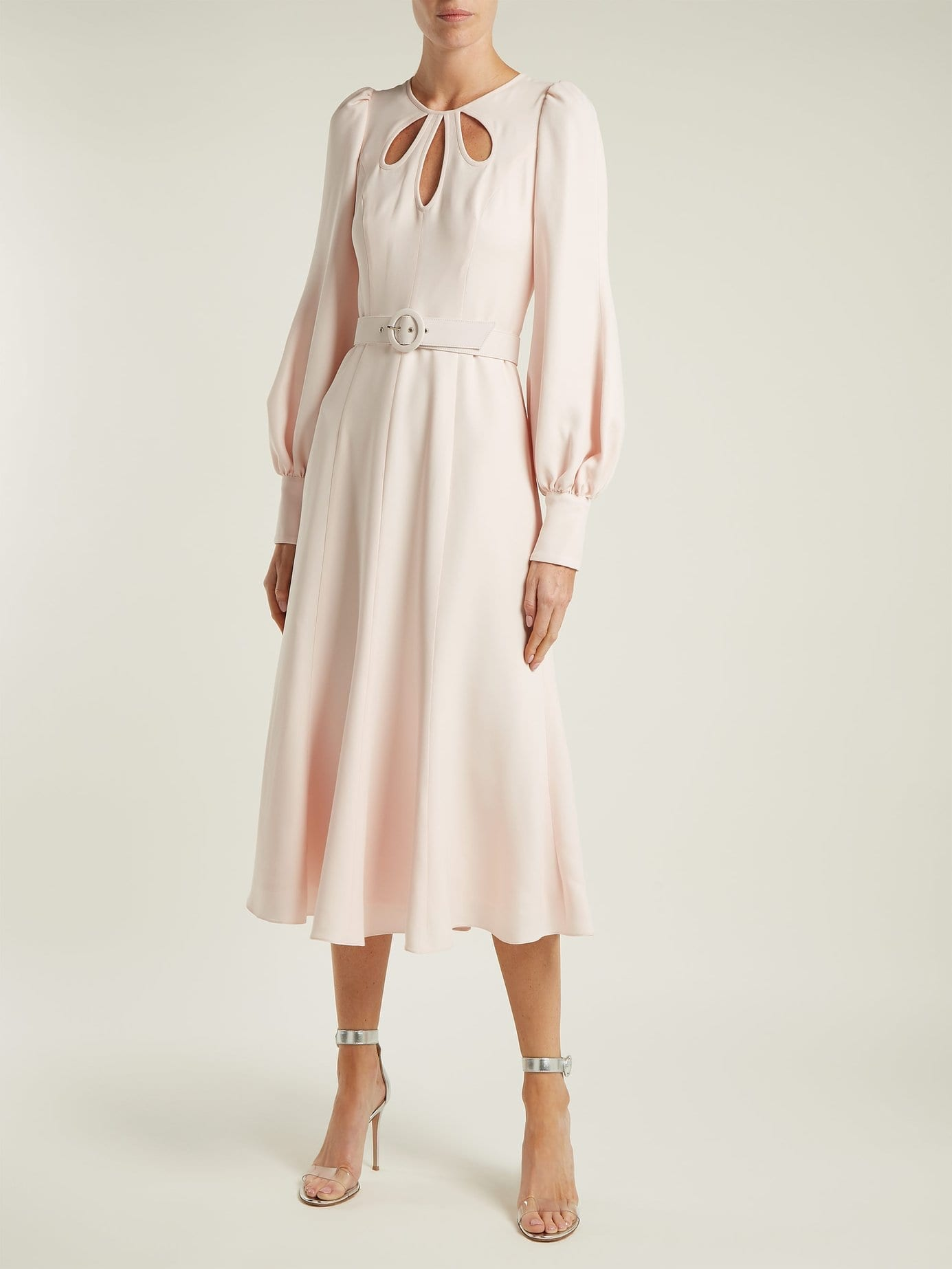 ANDREW GN Cut Out Crepe Midi Blush Pink Dress