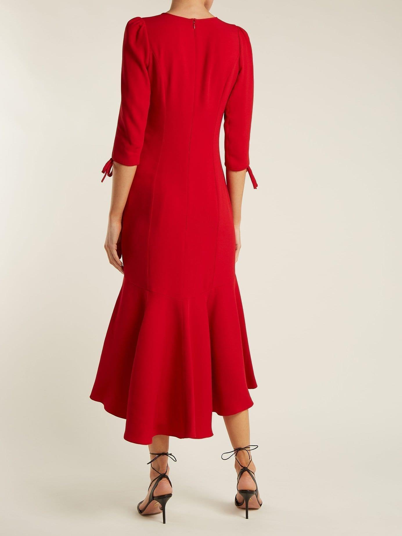 ANDREW GN Flower Appliqué Crepe Midi Red Dress