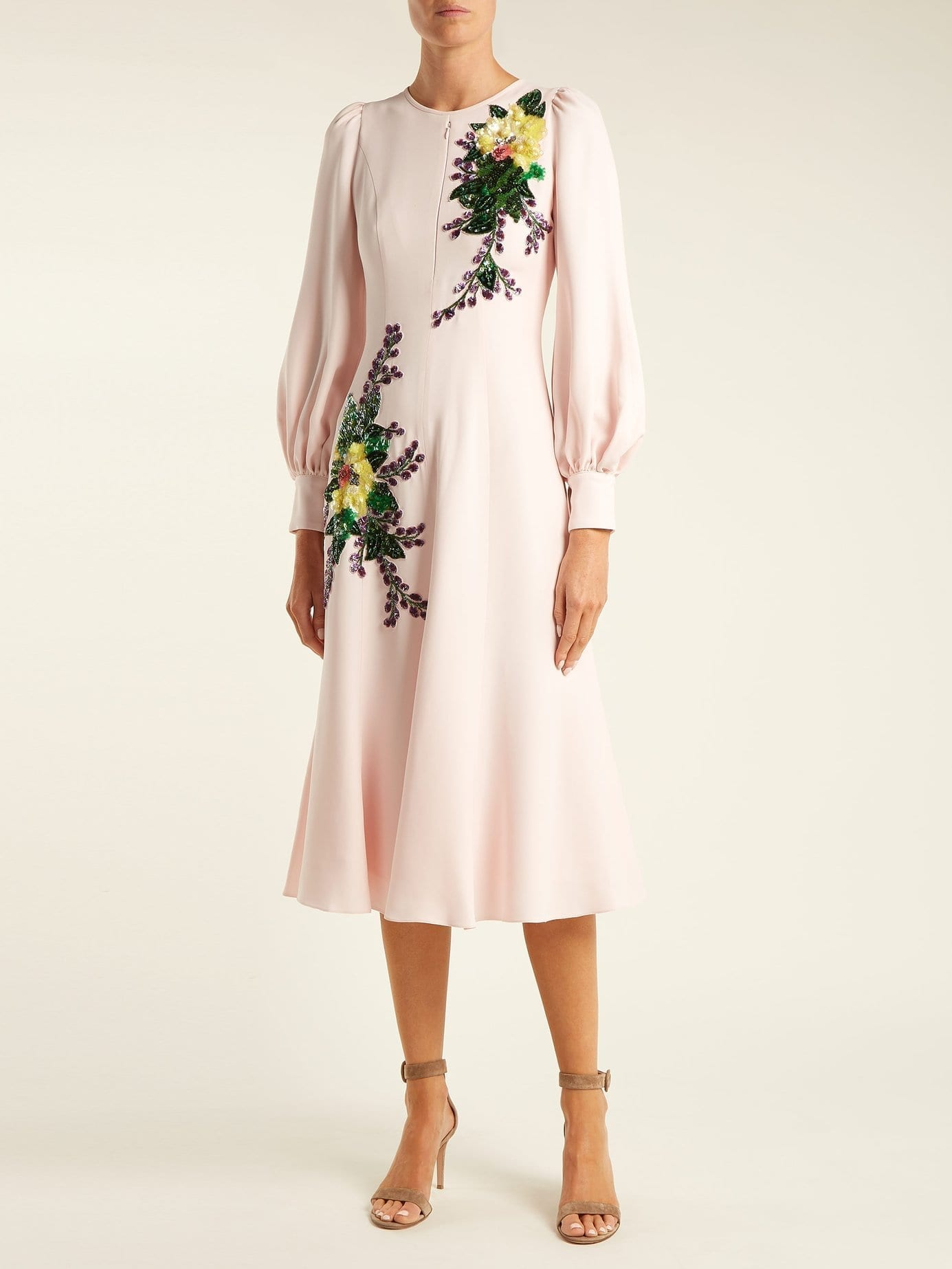 ANDREW GN Sequin Embellished Crepe Midi Pink Dress