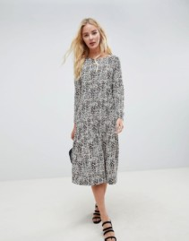 ASOS DESIGN Animal Print Midi Smock Multicolored Dress