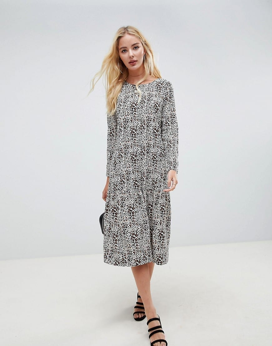 ASOS DESIGN Animal Print Midi Smock Multicolored Dress