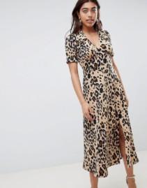 ASOS DESIGN Animal Print Midi Tea Yellow Dress