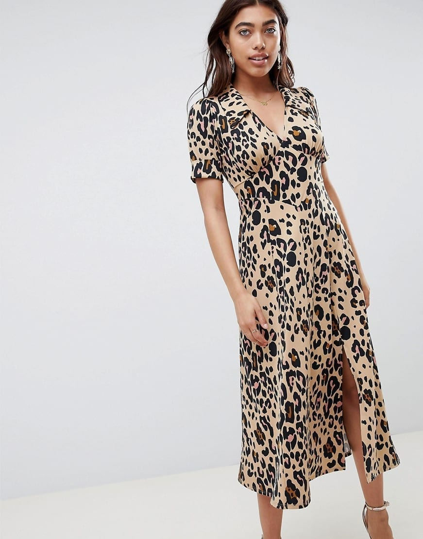 ASOS DESIGN Animal Print Midi Tea Yellow Dress
