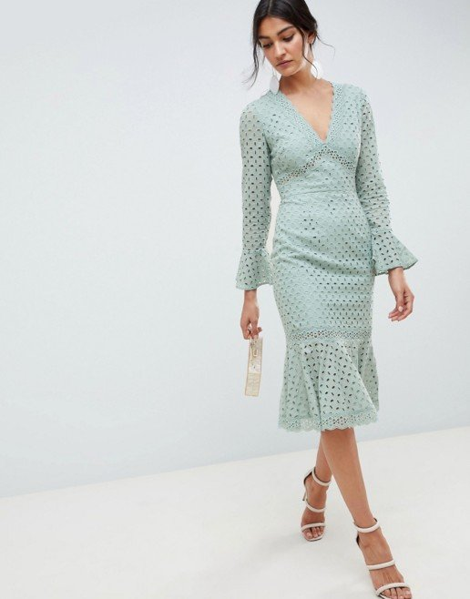 ASOS DESIGN Broderie Lace V Neck Fluted Sleeve Midi Sage Green Dress