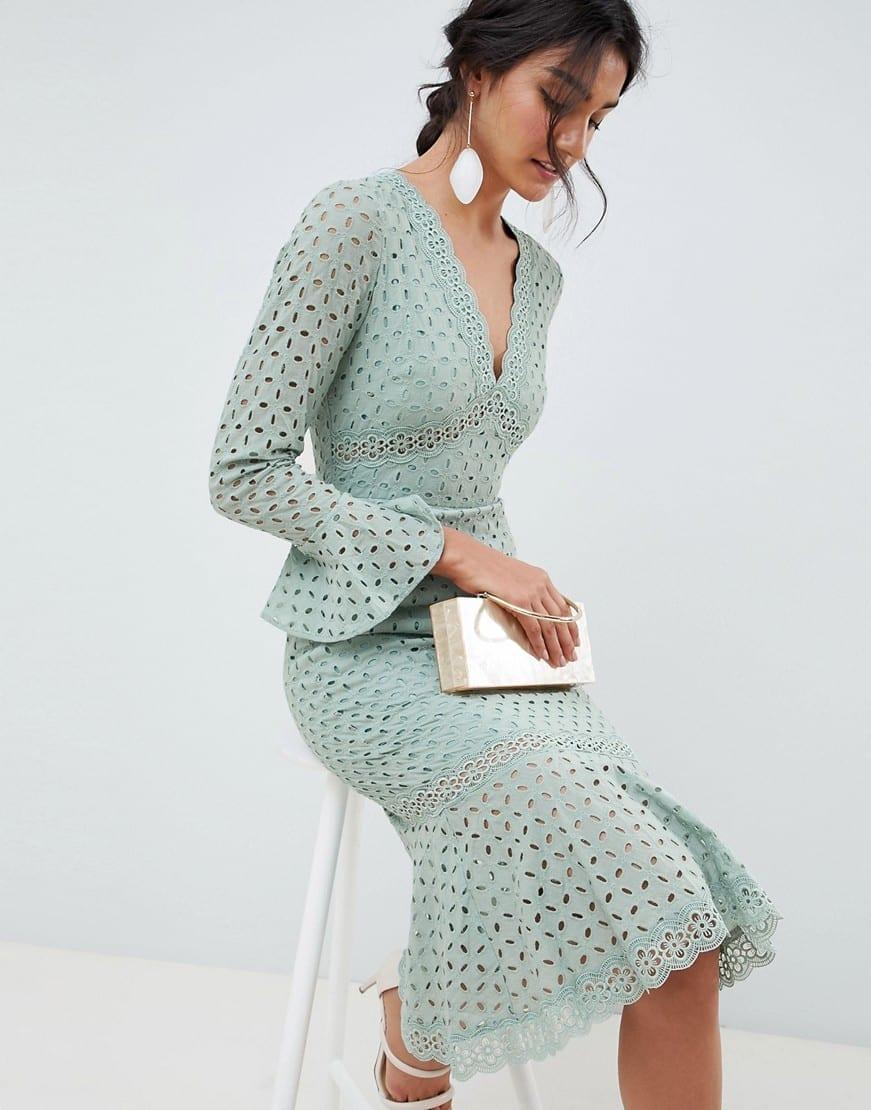 eef63cfa4804 ASOS DESIGN Broderie Lace V Neck Fluted Sleeve Midi Sage Green Dress ...