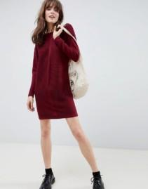 ASOS DESIGN Eco Knitted Mini Ripple Dark Red Dress