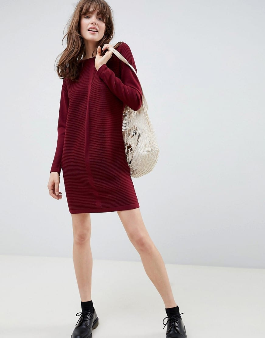 ASOS DESIGN Eco Knitted Mini Ripple Dark Red Dress