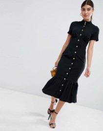 ASOS DESIGN Popper Detail And Pep Hem Corset Midi Black Dress
