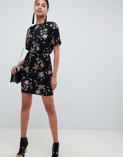 ASOS DESIGN Puff Print Mini Black Dress
