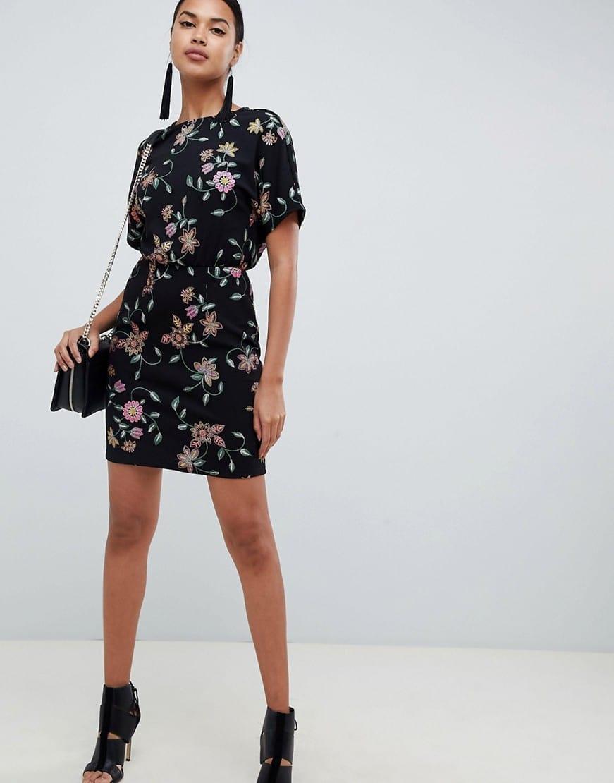 ASOS DESIGN Puff Print Mini Black Dress