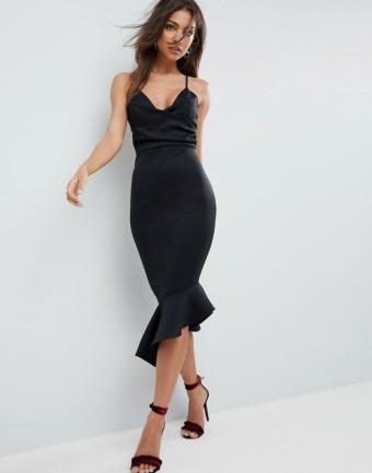 ASOS DESIGN Scuba Cami Pephem Midi Black Dress