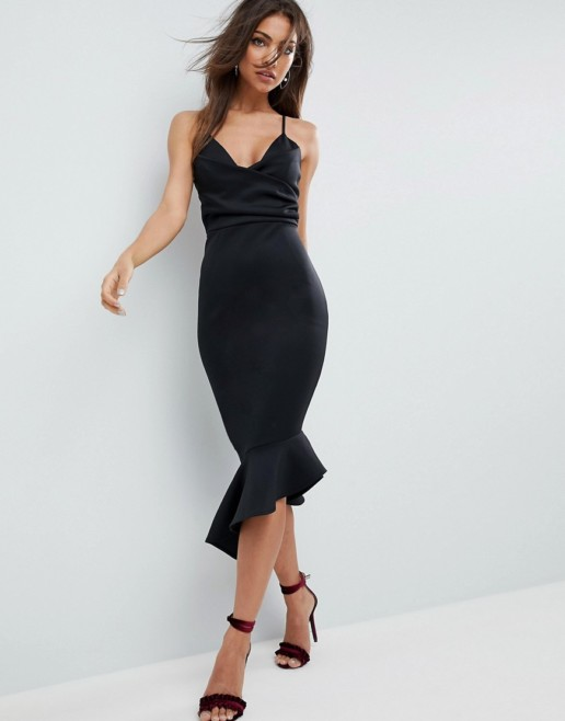 ASOS DESIGN Scuba Cami Pephem Midi Black Dress