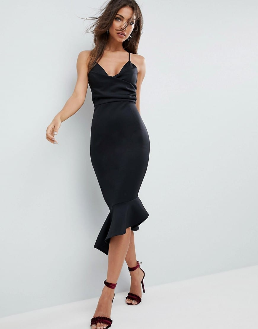 c20e8e7a42 ASOS DESIGN Scuba Cami Pephem Midi Black Dress - We Select Dresses