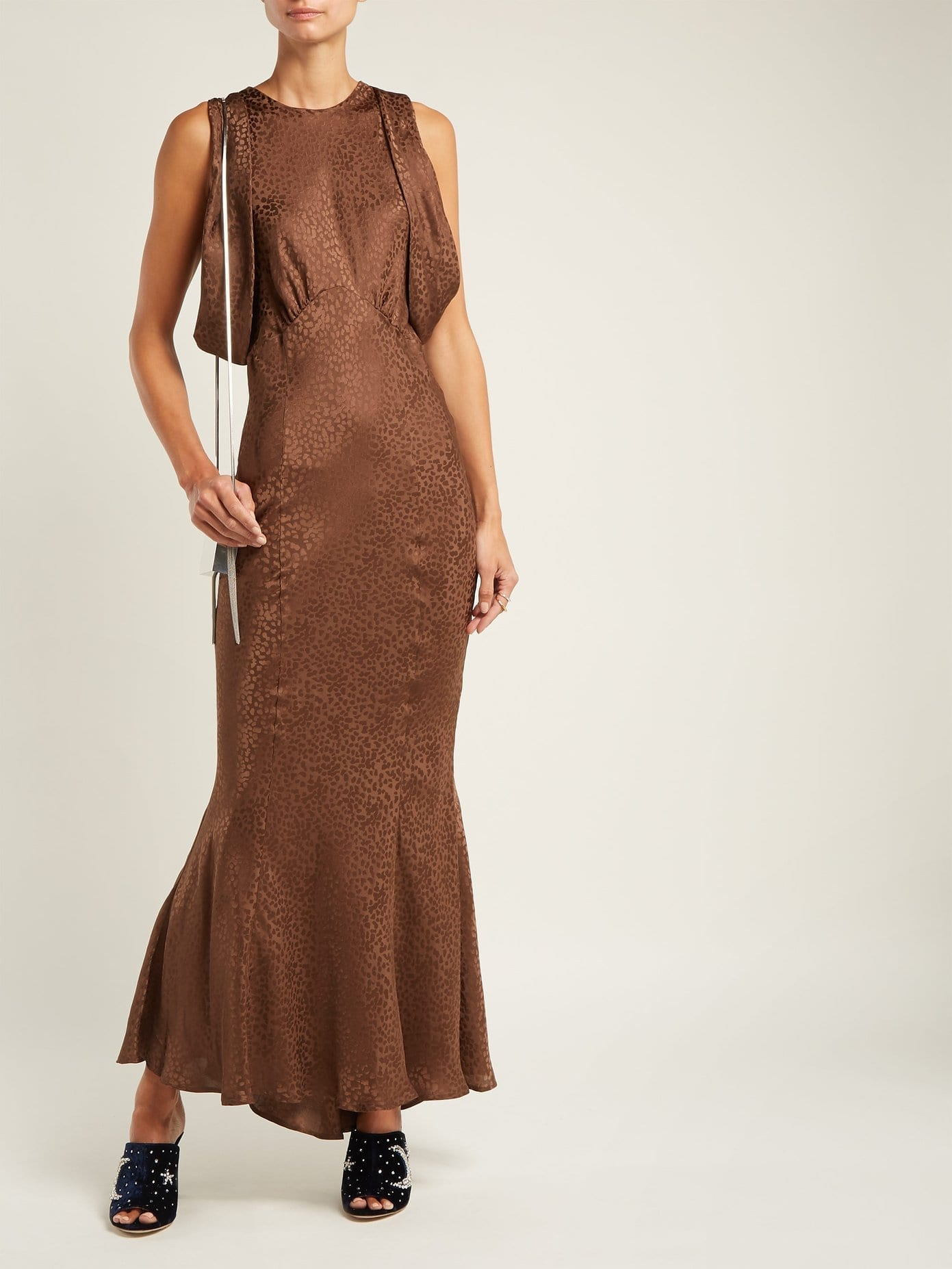 Attico Cheetah Jacquard Silk Draped Sleeved Brown Dress