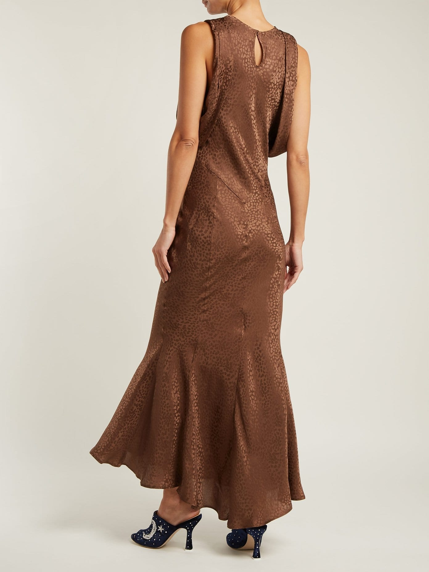 Attico Cheetah Jacquard Silk Draped Sleeved Brown Dress