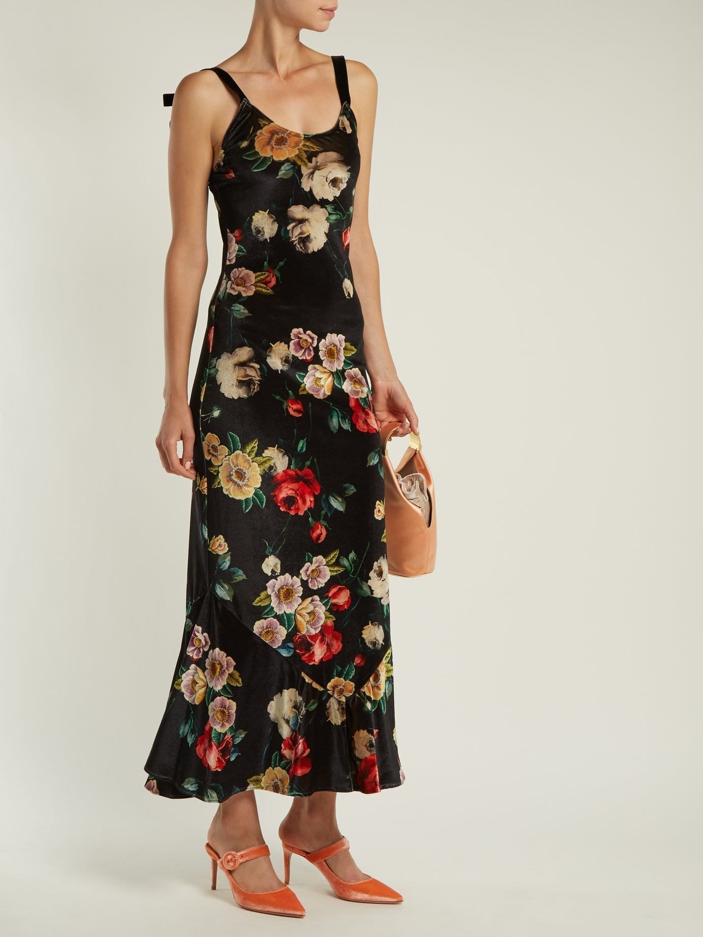 ATTICO Rose Print Velvet Black Dress