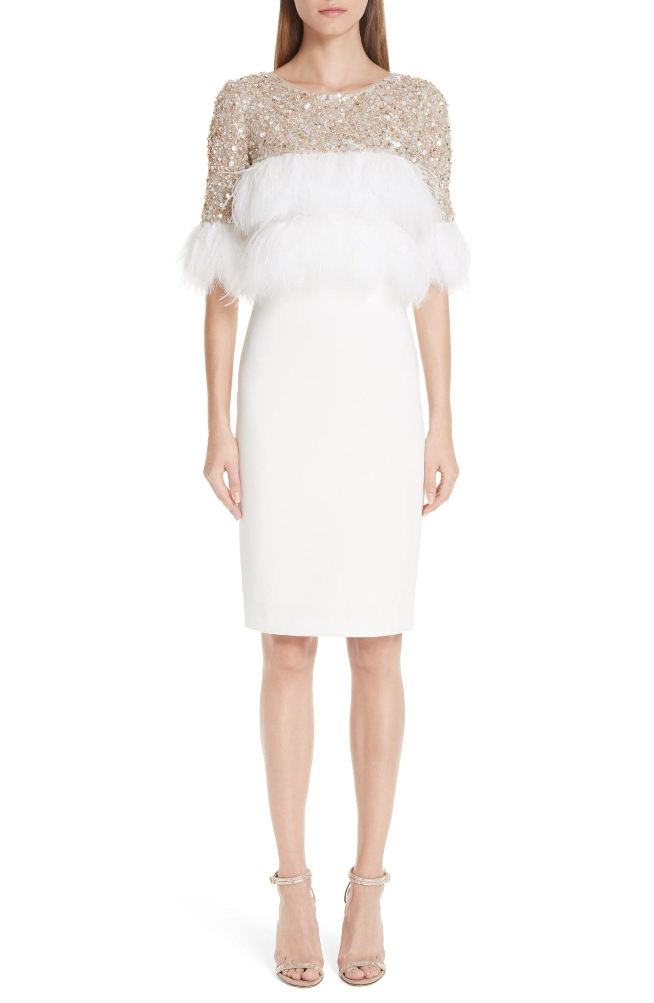 Badgley Mischka Feather Tail Light Ivory Dress
