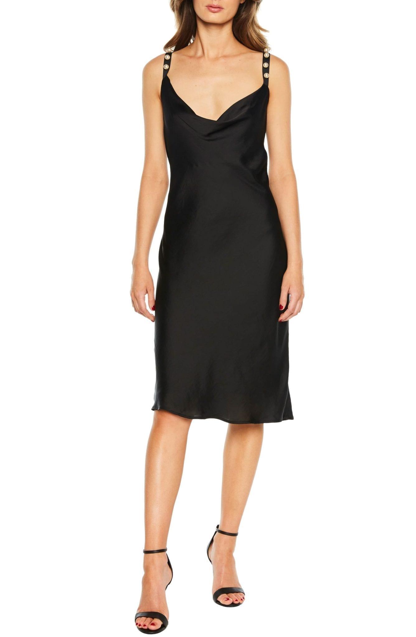 BARDOT Pearl Strap Slip Black Dress