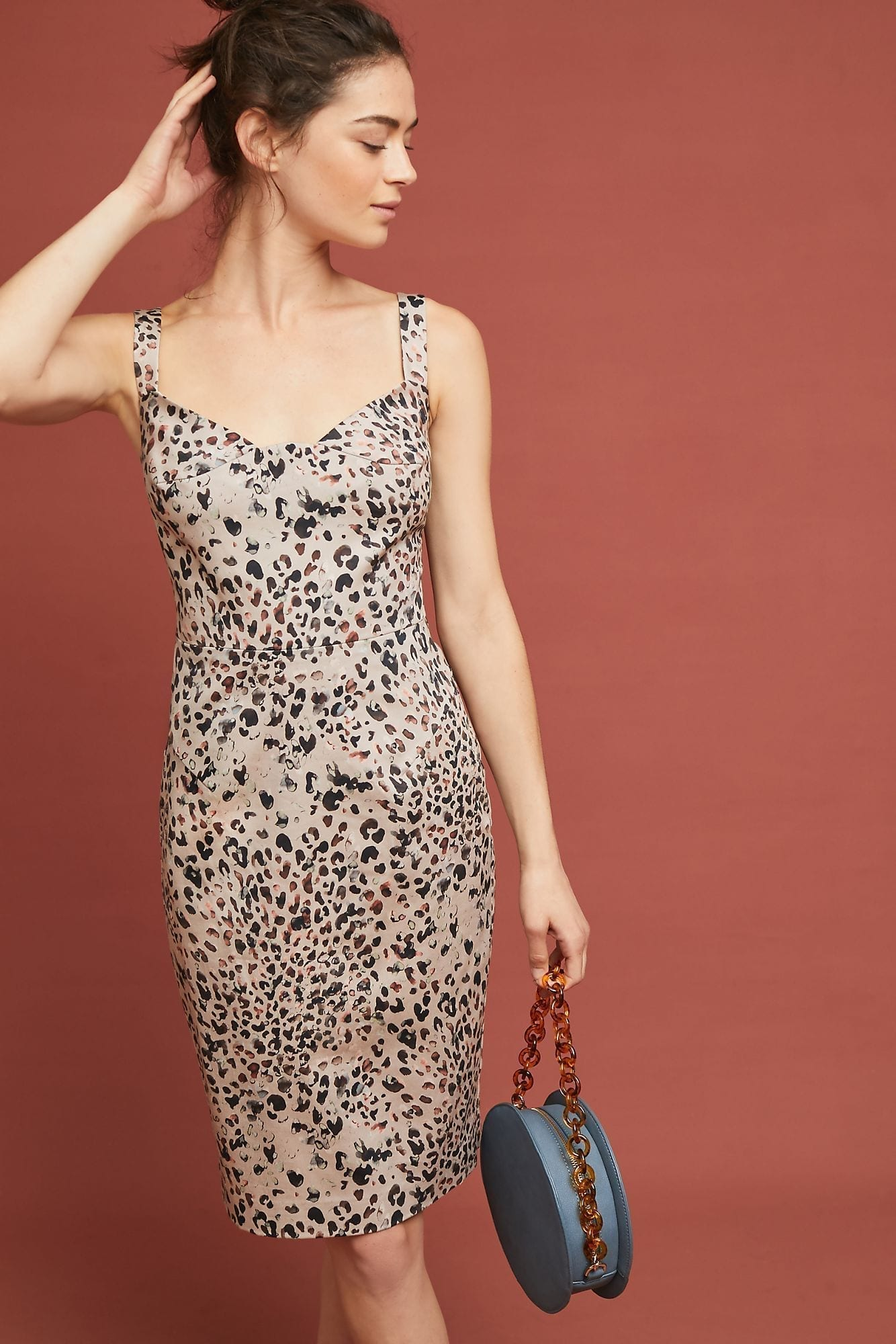 BLACK HALO Leopard Sheath Netural Dress - We Select Dresses