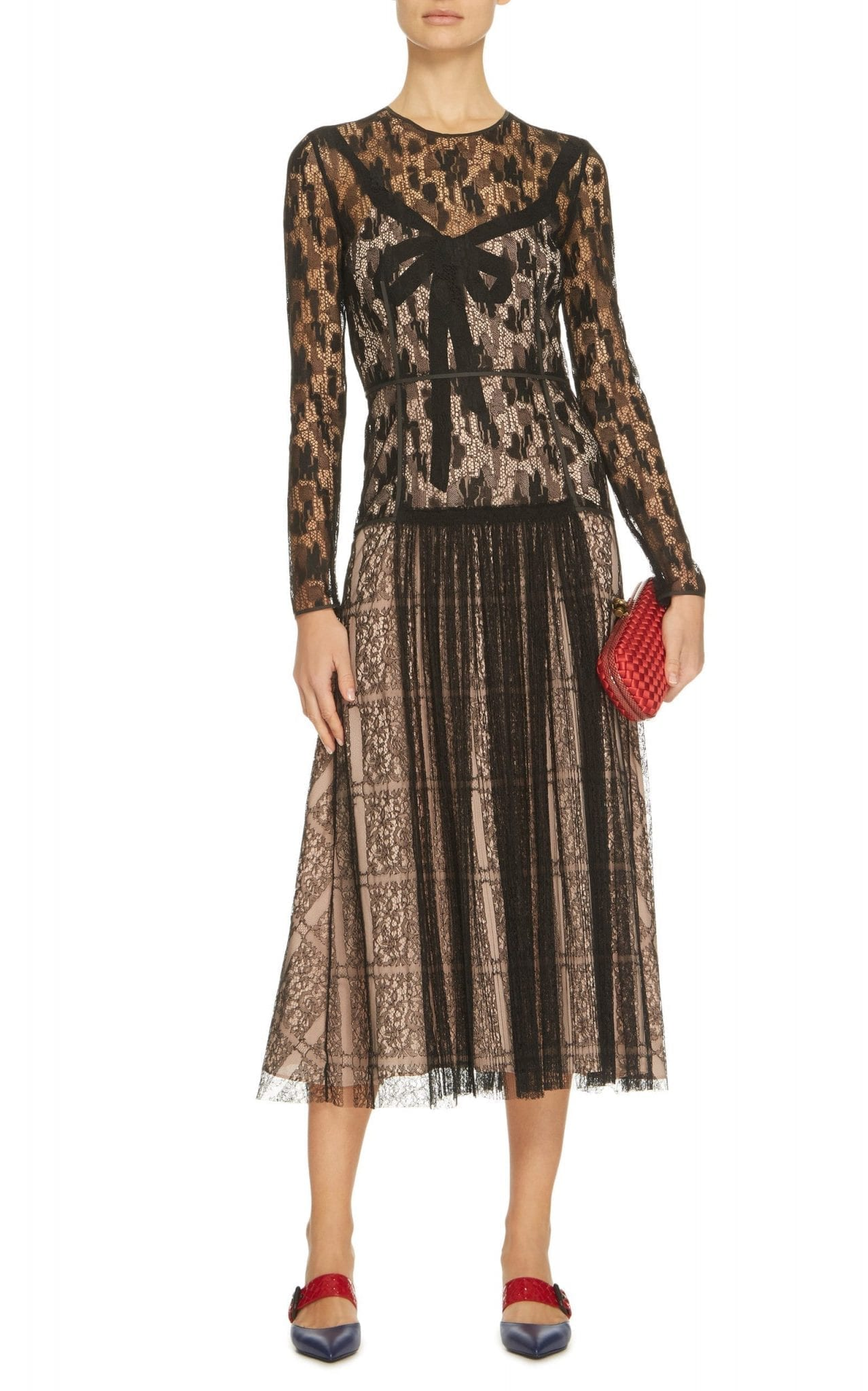 BOTTEGA VENETA Camouflage Lace Midi Black Dress