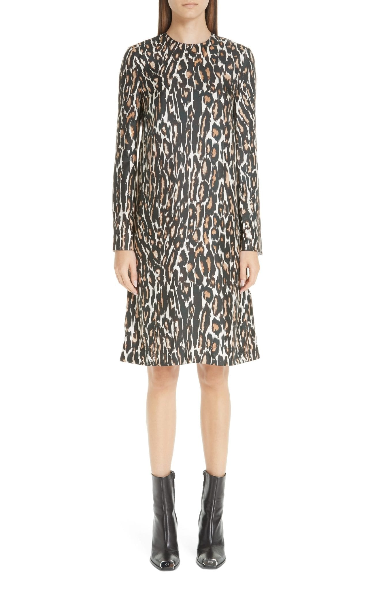 CALVIN KLEIN 205W39NYC Leopard Print Silk Twill Shift Multicolored Dress