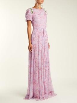 CAROLINA HERRERA Wildflower Print Silk Chiffon Lavender Gown