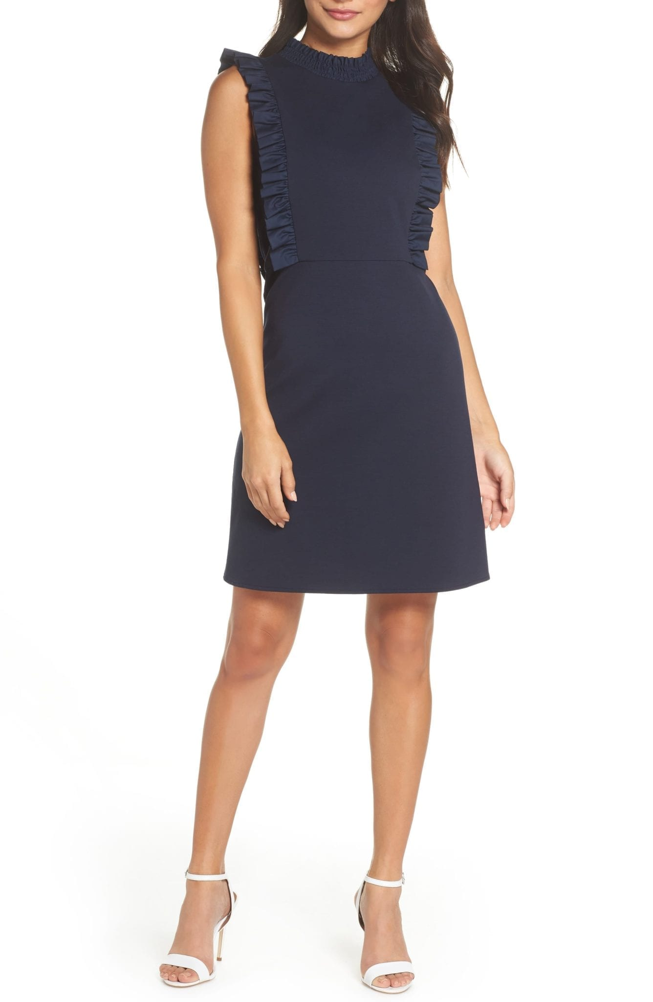 CHELSEA28 Ruffle Navy Dress