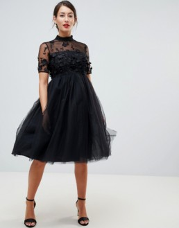 CHI CHI LONDON Floral Applique Maternity High Neck Tulle Midi Black Dress