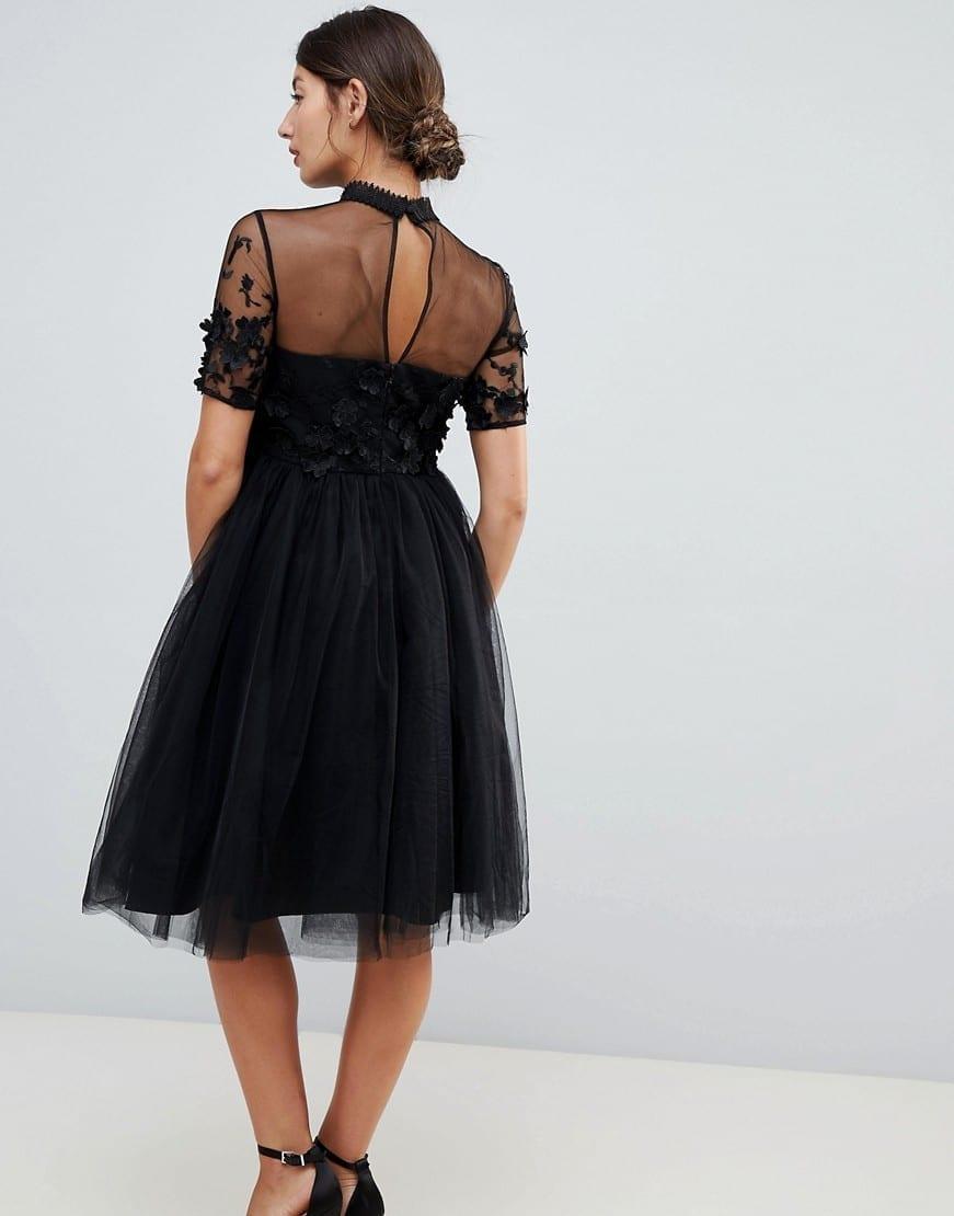 CHI CHI LONDON Floral Applique Maternity High Neck Tulle Midi Black Dress