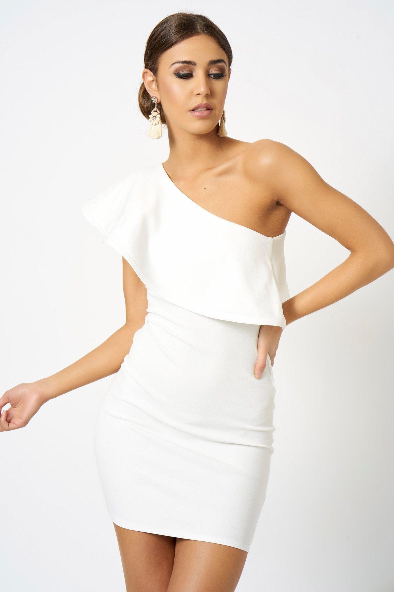 9ea3eb0cf7e CLUB L LONDON One Shoulder Frill Detailed Mini Bodycon White Dress ...