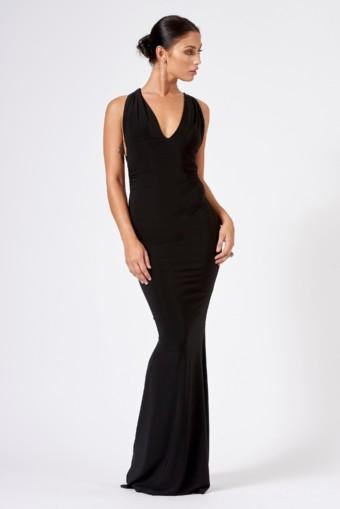 CLUB L LONDON Open Back Strap Maxi Black Dress