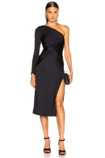CUSHNIE ET OCHS Twist One Shoulder Black Dress