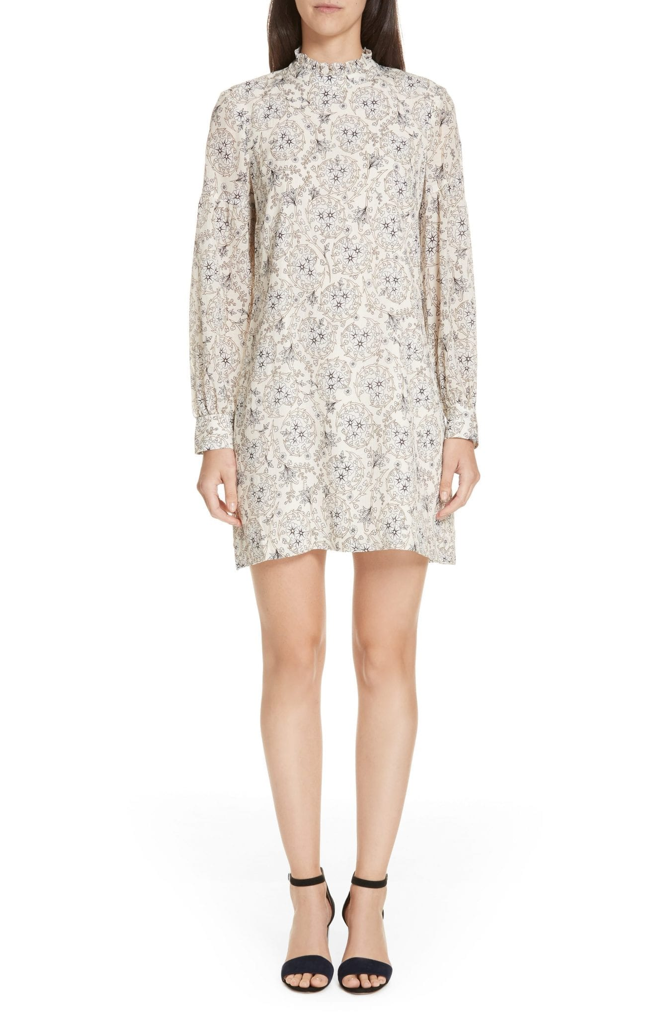 DEREK LAM 10 CROSBY Silk Cream / Floral Printed Dress