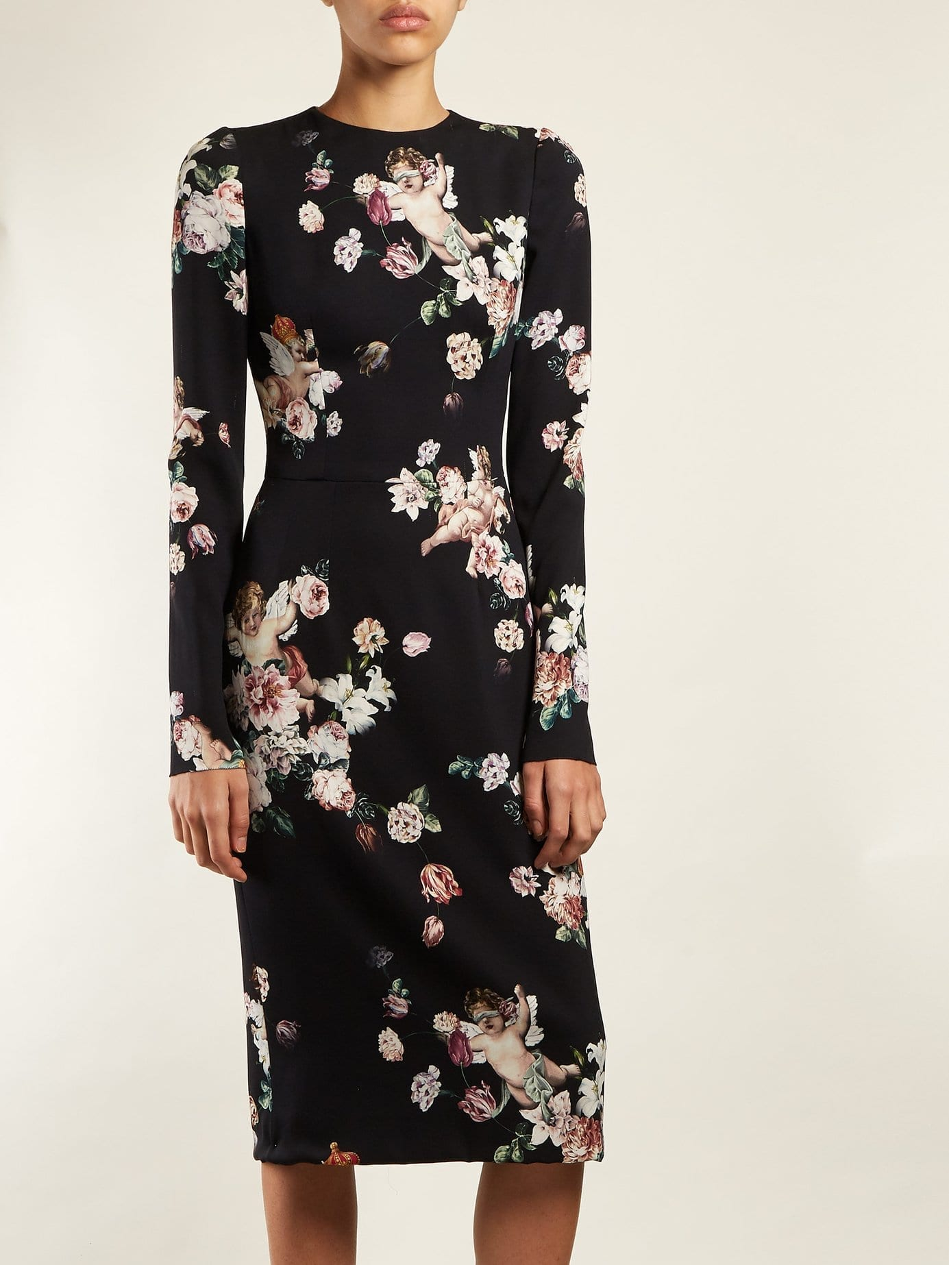 DOLCE & GABBANA Angel And Midi Black / Floral Printed Dress