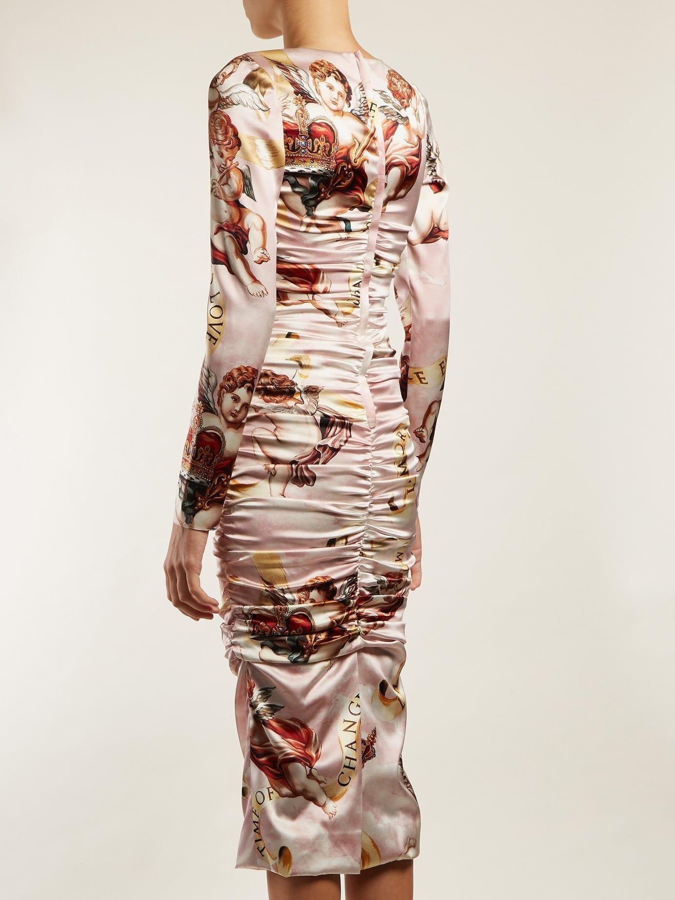 Dolce Amp Gabbana Angel Print Satin Midi Pink Dress We