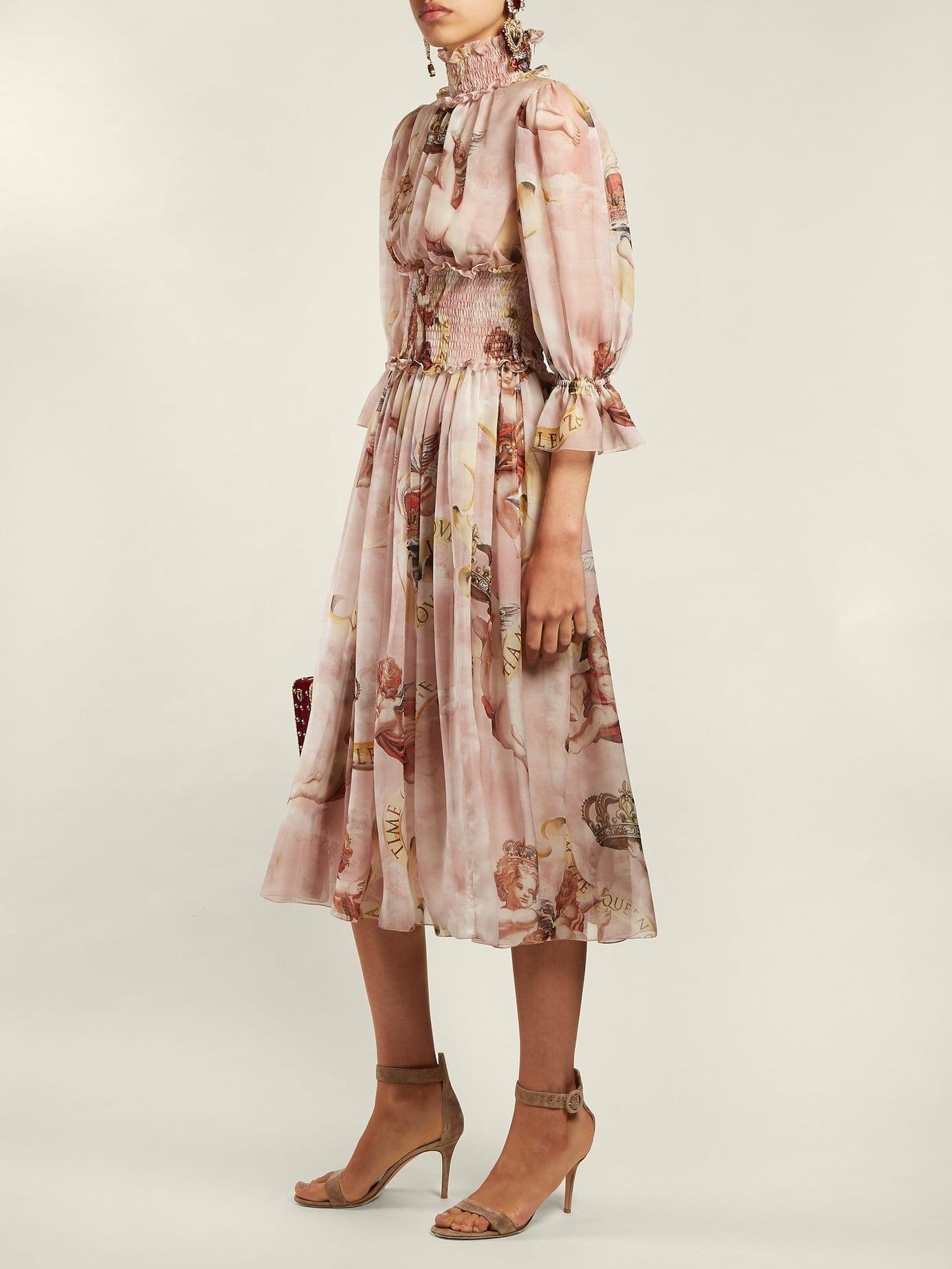 f8f4ded3a8f1 DOLCE & GABBANA Cherub Print Silk Light Pink Dress - We Select Dresses