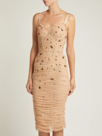 DOLCE & GABBANA Crystal Embellished Tulle Midi Beige Dress