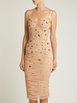 DOLCE & GABBANA Crystal Embellished Tulle Midi Beige Dress