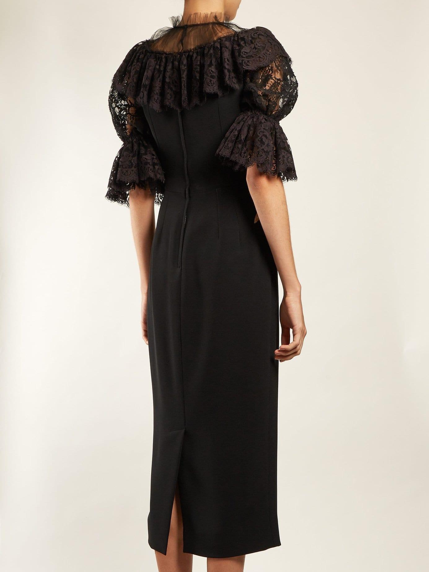 DOLCE & GABBANA Fashion Sinner Embroidered Midi Black Dress