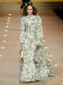 DOLCE & GABBANA Leaf-print Chiffon White Gown