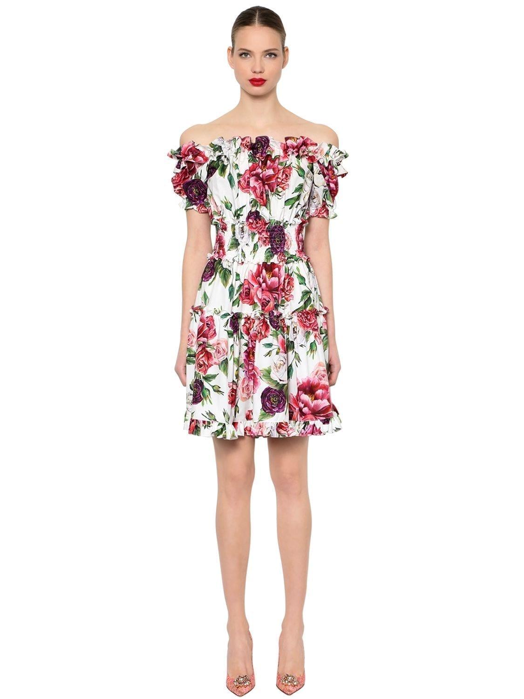 Dolce Gabbana Off The Shoulder Poplin White Floral Printed Dress