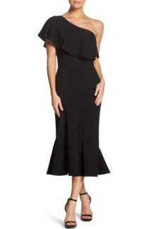 DRESS THE POPULATION Raquel One-Shoulder Trumpet Black Dress